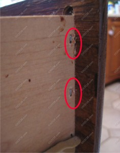 kitchen cabinets - stapled drawers