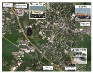 Spruce Pond Village Franklin MA - shopping map