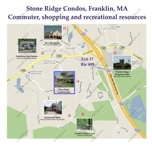 Stone Ridge townhomes Franklin MA - commute - shopping