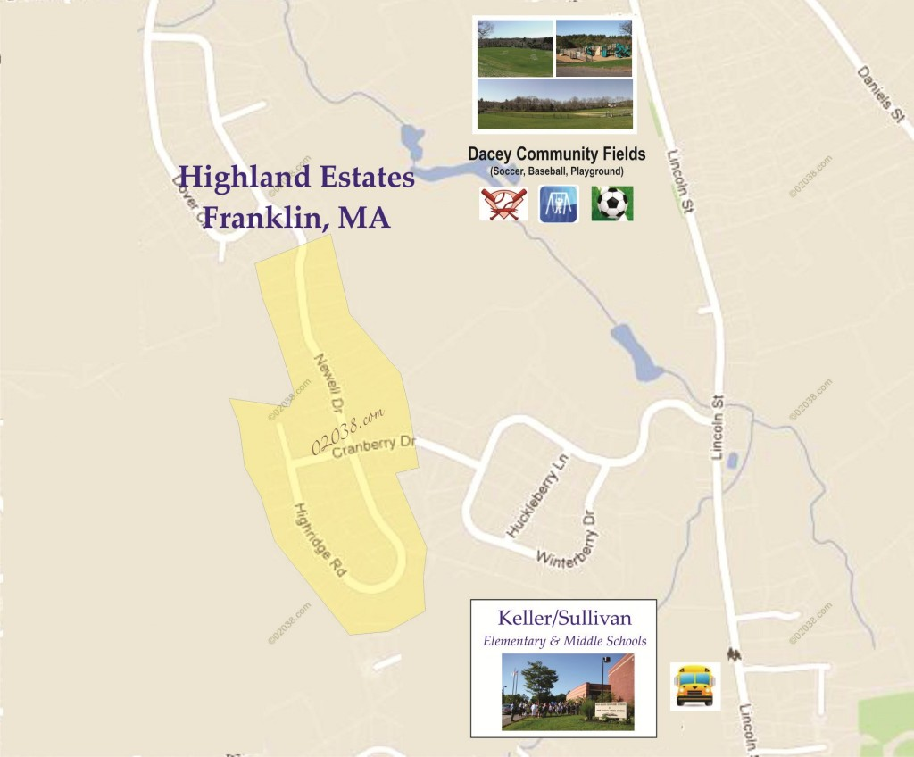 highland estates franklin ma map