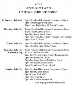 Charming Franklin MA July 4 Celebration Schedule Events Ideas Minutes Taking Format