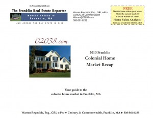Frankln MA colonial home market recap 2013 cover