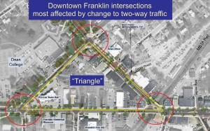downtown franklin ma traffic triangle